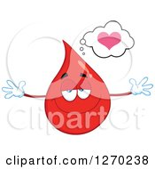 Clipart Of A Happy Blood Or Hot Water Drop Thinking About Love And Wanting A Hug Royalty Free Vector Illustration by Hit Toon