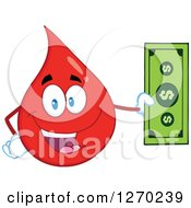 Clipart Of A Happy Blood Or Hot Water Drop Holding Cash Money Royalty Free Vector Illustration by Hit Toon
