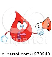 Clipart Of A Blood Or Hot Water Drop Screaming An Announcement Into A Megaphone Royalty Free Vector Illustration