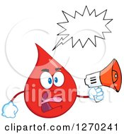 Clipart Of A Blood Or Hot Water Drop Screaming Into An Announcement Megaphone Royalty Free Vector Illustration