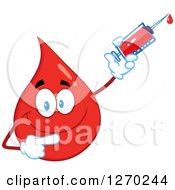 Clipart Of A Happy Blood Or Hot Water Drop Pointing And Holding Up A Syringe Royalty Free Vector Illustration by Hit Toon