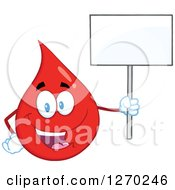 Clipart Of A Happy Blood Or Hot Water Drop Holding Up A Blank Sign Royalty Free Vector Illustration