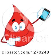 Clipart Of A Happy Blood Or Hot Water Drop Holding And Pointing To A Cell Phone Royalty Free Vector Illustration