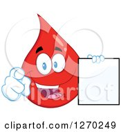 Clipart Of A Happy Blood Or Hot Water Drop Holding A Blank Sign And Pointing Outwards Royalty Free Vector Illustration by Hit Toon