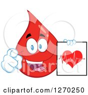 Clipart Of A Happy Blood Or Hot Water Drop Pointing At You And Holding An ECG Chart Royalty Free Vector Illustration