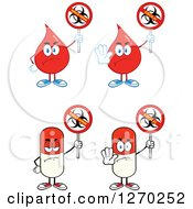 Clipart Of Blood Or Hot Water Drop And Pill Mascots Holding No Ebola Virus Biohazard Signs Royalty Free Vector Illustration by Hit Toon