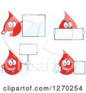 Clipart Of Blood Or Hot Water Drop Mascots Holding Blank Signs Royalty Free Vector Illustration