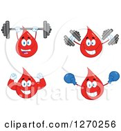 Clipart Of Blood Or Hot Water Drop Mascots 5 Royalty Free Vector Illustration