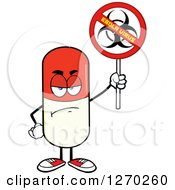 Clipart Of A Mad Pill Character Holding A No Ebola Virus Biohazard Sign Royalty Free Vector Illustration by Hit Toon