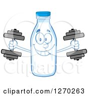 Clipart Of A Milk Bottle Character Working Out With Dumbbells Royalty Free Vector Illustration by Hit Toon