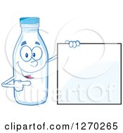 Clipart Of A Milk Bottle Character Holding And Pointing To A Blank Sign Royalty Free Vector Illustration