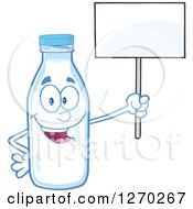 Clipart Of A Milk Bottle Character Holding Up A Blank Sign Royalty Free Vector Illustration by Hit Toon