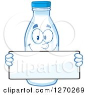 Clipart Of A Milk Bottle Character Holding A Blank Sign Over His Face Royalty Free Vector Illustration by Hit Toon