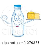 Clipart Of A Milk Bottle Character Gesturing Ok And Holding Up Cheese Royalty Free Vector Illustration by Hit Toon