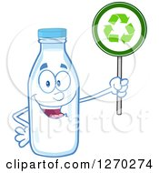 Clipart Of A Milk Bottle Character Holding Up A Recycle Sign Royalty Free Vector Illustration by Hit Toon