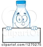 Clipart Of A Milk Bottle Character Looking Over A Blank Sign Royalty Free Vector Illustration by Hit Toon