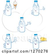 Clipart Of Milk Bottle Characters Royalty Free Vector Illustration by Hit Toon