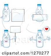Clipart Of Milk Bottle Characters 2 Royalty Free Vector Illustration by Hit Toon