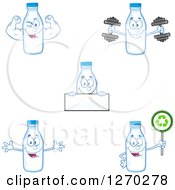 Clipart Of Milk Bottle Characters 3 Royalty Free Vector Illustration by Hit Toon