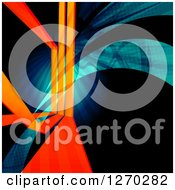 Clipart Of A Background Of Orange Lines And Blue And Green Swooshes On Black Royalty Free Illustration