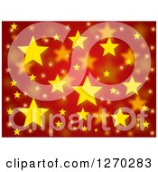 Clipart Of A Red Christmas Background With Yellow Stars Royalty Free Illustration
