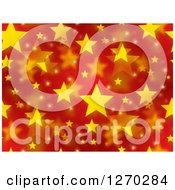 Clipart Of A Seamless Pattern Of Red Christmas Background With Yellow Stars Royalty Free Illustration