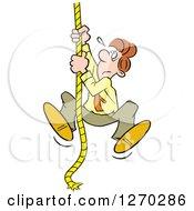 Uncertain Caucasian Man Climbing An Upward Mobility Rope