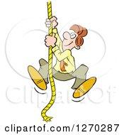 Happy Caucasian Man Climbing An Upward Mobility Rope
