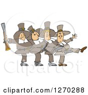 Clipart Of Thanksgivinh Pilgrim Men Dancing The Can Can Royalty Free Vector Illustration