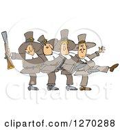 Thanksgivinh Pilgrim Men Dancing The Can Can