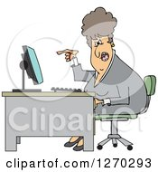 Clipart Of A Caucasian Angry Business Woman Yelling At Her Computer Desk Royalty Free Vector Illustration by djart