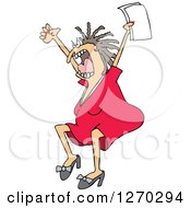 Clipart Of A Mad White Business Woman Jumping And Screaming With Documents In Hand Royalty Free Vector Illustration by djart