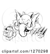 Clipart Of A Black And White Vicious Elephant Monster Clawing Through A Wall Royalty Free Vector Illustration