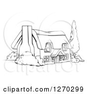 Clipart Of A Black And White Farm Cottage With Shrubs And A Tree Royalty Free Vector Illustration by AtStockIllustration