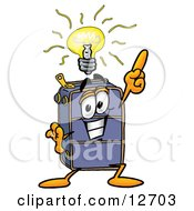 Clipart Picture Of A Suitcase Cartoon Character With A Bright Idea