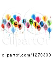 Clipart Of A Group Of 3d Colorful Party Balloons And Ribbons With Happy Birthday Text Royalty Free Vector Illustration
