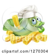 Clipart Of A Happy Green Cod Fish Chef Holding Up A French Fry Over Chips Royalty Free Vector Illustration