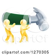 Clipart Of 3d Gold Men Carrying A Giant Hammer Royalty Free Vector Illustration