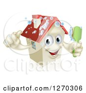 Clipart Of A Happy 3d House Character Giving A Thumb Up And Cleaning Itself With A Brush Royalty Free Vector Illustration
