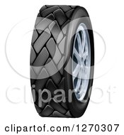 Clipart Of A 3d Black Rubber Car Tire And Chrome Rims Royalty Free Vector Illustration