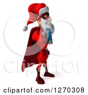 Clipart Of A 3d Super Hero Santa Facing Right And Holding A Smart Phone Royalty Free Illustration