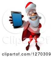 Clipart Of A 3d Super Hero Santa Holding Up A Smart Phone Royalty Free Illustration