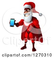 Clipart Of A 3d Super Hero Santa Holding Out A Smart Phone Royalty Free Illustration