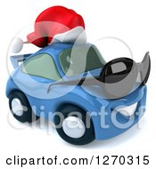 Clipart Of A 3d Blue Christmas Porsche Car Facing Right Wearing Sunglasses And A Santa Hat Royalty Free Illustration by Julos