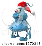 Clipart Of A 3d Blue Christmas Germ Wearing A Santa Hat And Facing Left Royalty Free Illustration