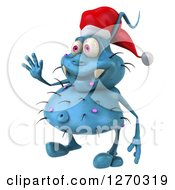 Clipart Of A 3d Blue Christmas Germ Wearing A Santa Hat Facing Left And Waving Royalty Free Illustration
