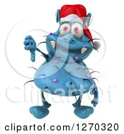 Clipart Of A 3d Blue Christmas Germ Wearing A Santa Hat And Giving A Thumb Down Royalty Free Illustration