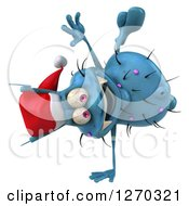 Clipart Of A 3d Blue Christmas Germ Wearing A Santa Hat And Cartwheeling Royalty Free Illustration