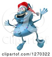 Clipart Of A 3d Blue Christmas Germ Wearing A Santa Hat Facing Slightly Left And Jumping Royalty Free Illustration