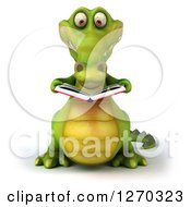 Clipart Of A 3d Crocodile Reading A Book Royalty Free Illustration